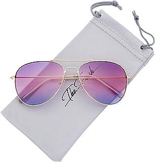 علبة هدايا نظارات شمسية بإطار معدني كلاسيكي منعش، عدسات بلون أوشاني، علبة هدايا