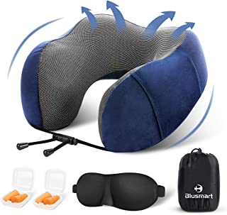 Blusmart Travel Pillow Memory Foam U- Shaped Neck Pillow for Airplanes Car Train, Super Soft & Comfortable Neck Support with Breathable Cover, Travel Kit with 3D Sleep Mask, Earplugs