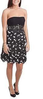 Sue Wong Petal Cocktail Dress, Black/Ivory, 4