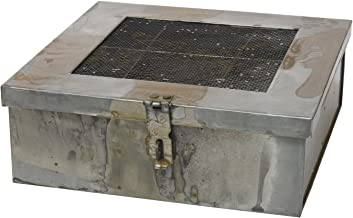 Stonebriar Industrial Galvanized Metal Storage Box with Hinged Lid and 6 Divided Compartments, Decorative Trinket and Keepsake Box, Unique Jewelry Holder, Desk Organizer