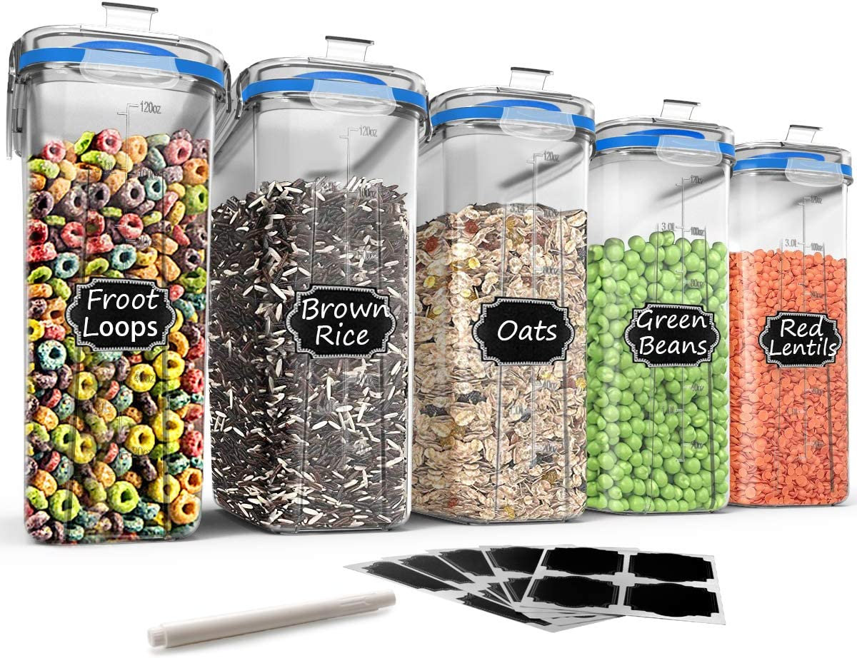 Large Cereal & Dry Food Storage Containers - Wildone 5 Pieces Airtight Cereal Storage Containers for Sugar, Flour, Snack, Baking Supplies, Leak-proof with Blue Locking Lids (4L /135.3oz)
