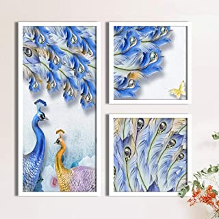 Painting Mantra Peacock Butterfly Framed Painting Set of 3 White Framed Posters/Art Print (1 Unit 22 X 47 cm, 2 Units 22 X...