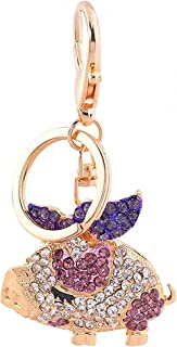 Reizteko Gold-Toned Crystal Rhinestone Pig Keychain Pendant Keychain Charms Gift