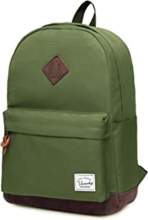 Backpack for Mens,Vaschy Unisex Classic Lightweight Water-Resistant Campus School Backpack Travel Bag Green Fits 15.6Inch Laptop