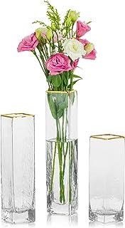 Ozdobne wazony na elementy środkowe zestaw 3 szklanych cyli