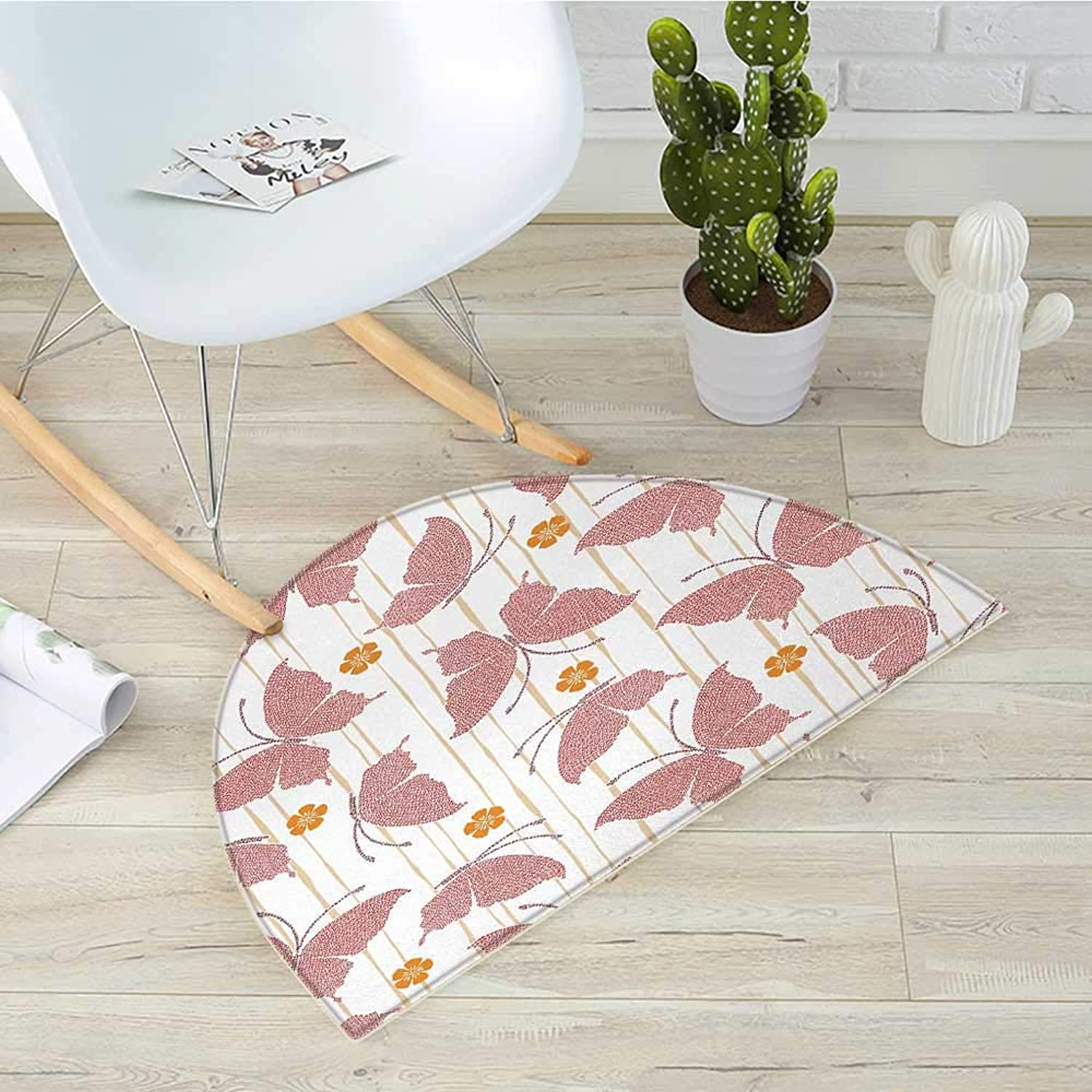 Butterfly Semicircular CushionPattern of Butterflies Small Flowers with Artistic Digital Dots Stripes Entry Door Mat H 39.3  xD 59  Red orange Cream
