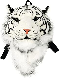 Domineering backpack stuffed tiger head 3D simulation personalised shoulder Bag Animal head shoulders bag (small, tiger white)
