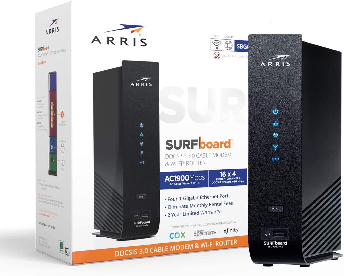 Arris Surfboard (16x4) Docsis 3.0 Cable Modem Plus AC1900 Dual Band Wi-Fi Router, Black & Roku Premiere | HD/4K/HDR Streaming Media Player, Simple Remote and Premium HDMI Cable
