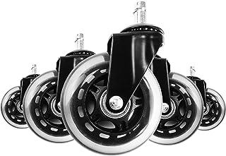 Ruedas para Silla de Oficina de 11MM - Set de 5 Ruedas de Repuesto Para Sillas - Ruedas de Repuesto Giratorias de Alta Resistencia Con Sistema de Frenos único, Caster Silencioso Rolling