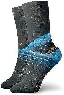 tyui7, Calcetines de compresión antideslizantes de juguete modelo de coche azul fundido a presión Calcetines deportivos acogedores de 30 cm para hombres, mujeres y niños