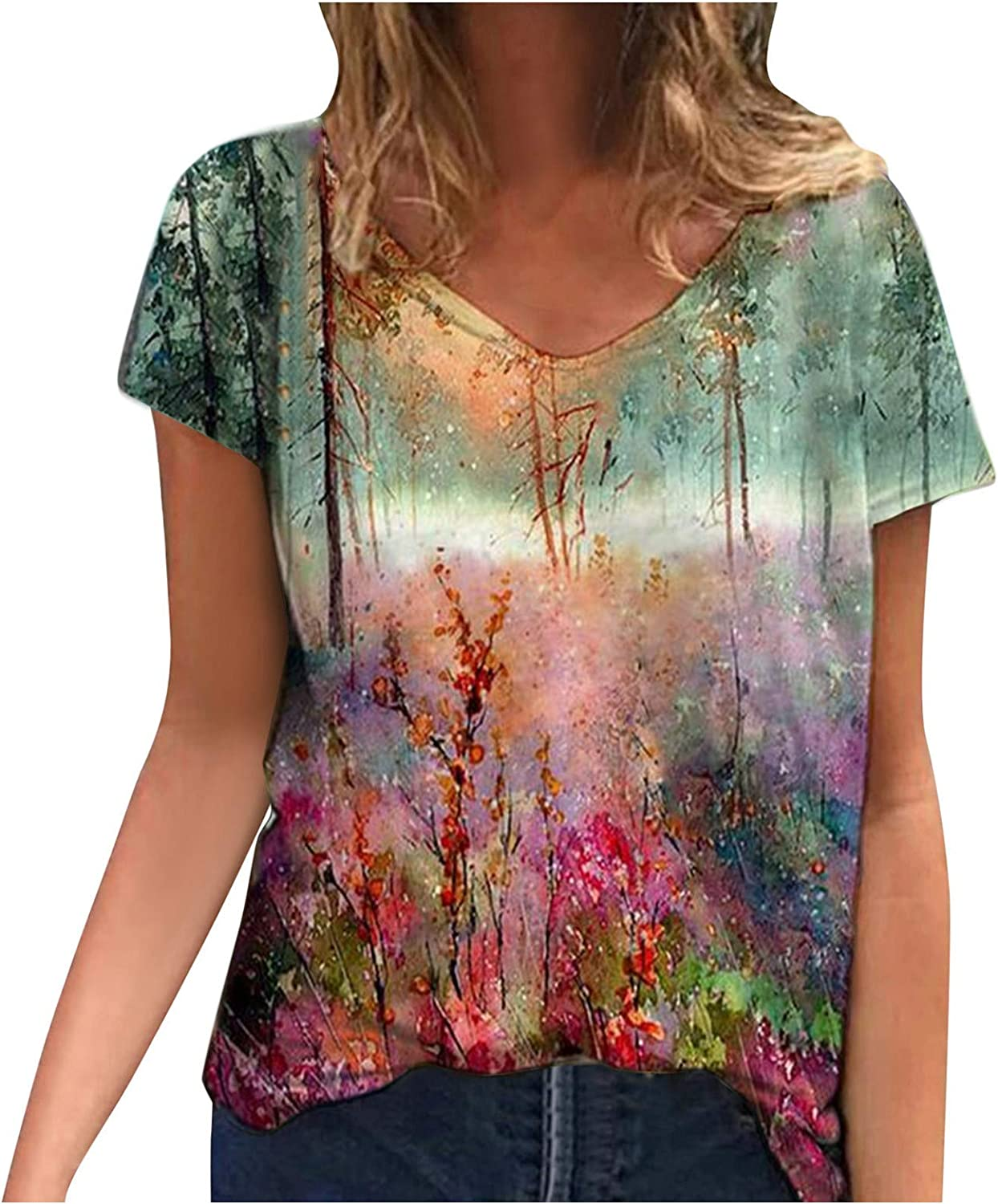 FABIURT Women Short Sleeve Tops,Womens Vintage Floral Printed V Neck T Shirts Summer Casual Loose Tee Blouse Tunic Tops