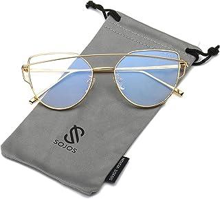 d04f4e3ad3 SOJOS Gafas De Sol De Moda Marco Metal Para Mujer-Lentes Planos De Espejo-