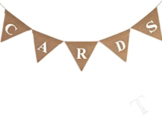 4-Piece Reception Burlap Pennant Heart-Shaped Vintage Hanging Bunting Decorations with Words Hessian Brown 6.5 x 0.1 x 6 Inches Each Rustic Wedding Banners