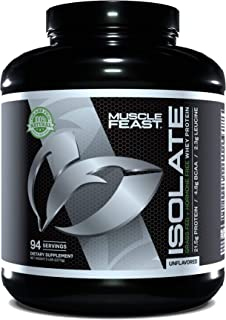 Muscle Feast Grass Fed Whey Protein Isolate, All Natural, Hormone Free, Fast Absorbing, 100% Pure Isolate, 21.5g Protein, ...