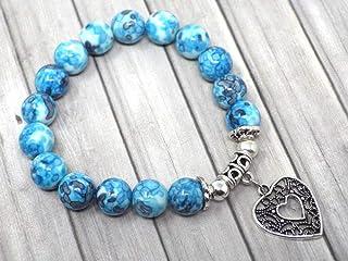 Braccialetto di perle di giada per donna tinto di blu e pendente in filigrana a forma di cuore