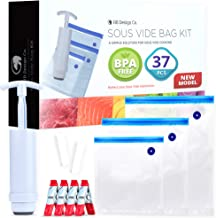 Sous Vide Bags BPA Free Reusable - 30 Reusable Sous Vide Bags + Sous Vide Clips, Sous Vide Bag Sealer, Vacuum Hand Pump - Reusable Storage Bags For Food - Vacuum Storage Bags For Food - Sous Vide Kit