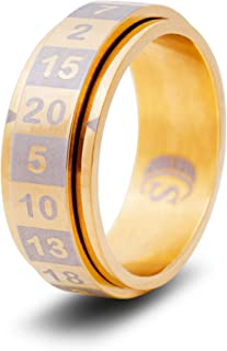 CritSuccess d20 Dice Ring with 20 Sided Die Spinner (Size 8 - Stainless Steel - Gold)