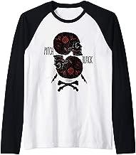 ROCKSTAR Black Skulls and Red Roses - Geometric Gothic Art Raglan Baseball Tee