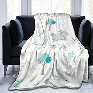 """Fleece Blanket 50"""" x 60""""-Blue Bunny in Woods Home Flannel Fleece Soft Warm Plush Throw Blanket for Bed/Couch/Sofa/Office/Camping"""