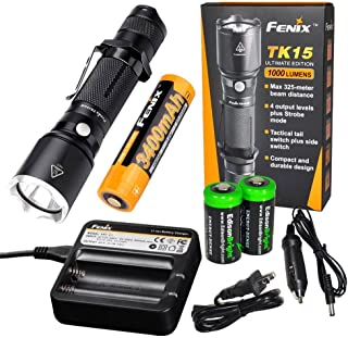 EdisonBright Fenix TK15UE 2016 CREE LED 1000 Lumen tactical Flashlight with Fenix 18650 3400mAh Li-ion rechargeable battery, Fenix ARE-C1 Home/car Charger and 2 X CR123A Lithium batteries package