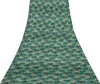 Svasti Peacock Feather VintageSareePrinted Medium Blue 100% Pure Silk Refurbished Craft Fabric 5 Yard
