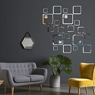 Best Decor 24 Square Silver Code 77 Acrylic Mirror 3D Wall Sticker Decoration for Kids Room/Living Room/Bedroom/Office/Hom...