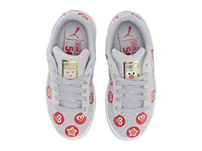Puma Kids Sesame Street 50 Suede Badge (Little Kid) (Grey Dawn/High-Risk Red) Kids Shoes