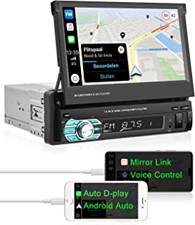 $139 » Single Din Car Stereo 7 inch Retractable Touch Screen Car Radio with D-Play for iPhone Android Auto Support Bluetooth/FM R...