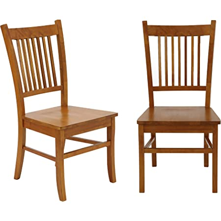 Amazon Com Marbrisa Slat Back Side Chairs Sienna Brown Set Of 2 Chairs
