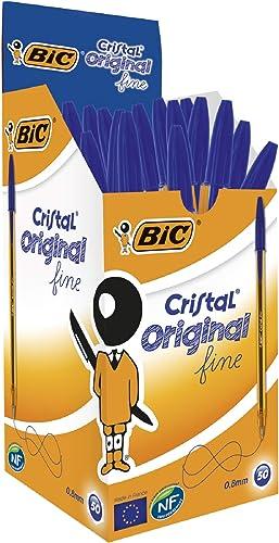 BIC Ecriture Cristal Original Stylos-Bille Pointe Fine (0,8 mm) - Encre De Couleur Bleue, Boîte de 50