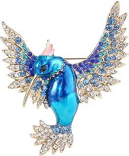 EVER FAITH Women's Austrian Crystal Enamel Lovely Bird Animal Brooch Gold-Tone