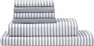 Virah Bella Debra Valencia Awning Striped Sheets by Duke-King-Med Cool Gray/White-6 Pc Set 2 Bonus Pillowcases!