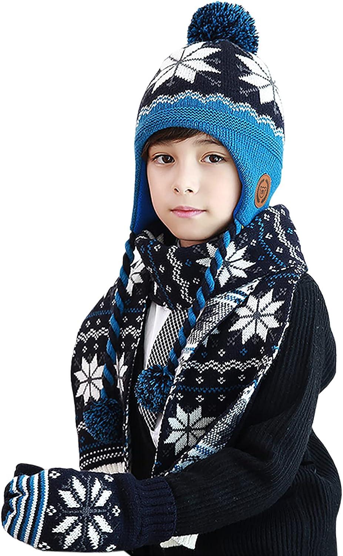 DERCLIVE Children Snow Furry Ball Hat Scarf Mittens Set Toddler Gloves Scarf Warm Winter Autumn Knitted Hat Mittens Set