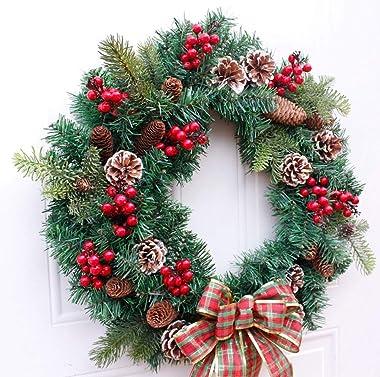 SSBH 22 Inch Wintry Pine Wreath, Christmas Wreath Pine Branch Pine Cone Berry Wreath Door Trim Ornaments Christmas Outdoor Gr