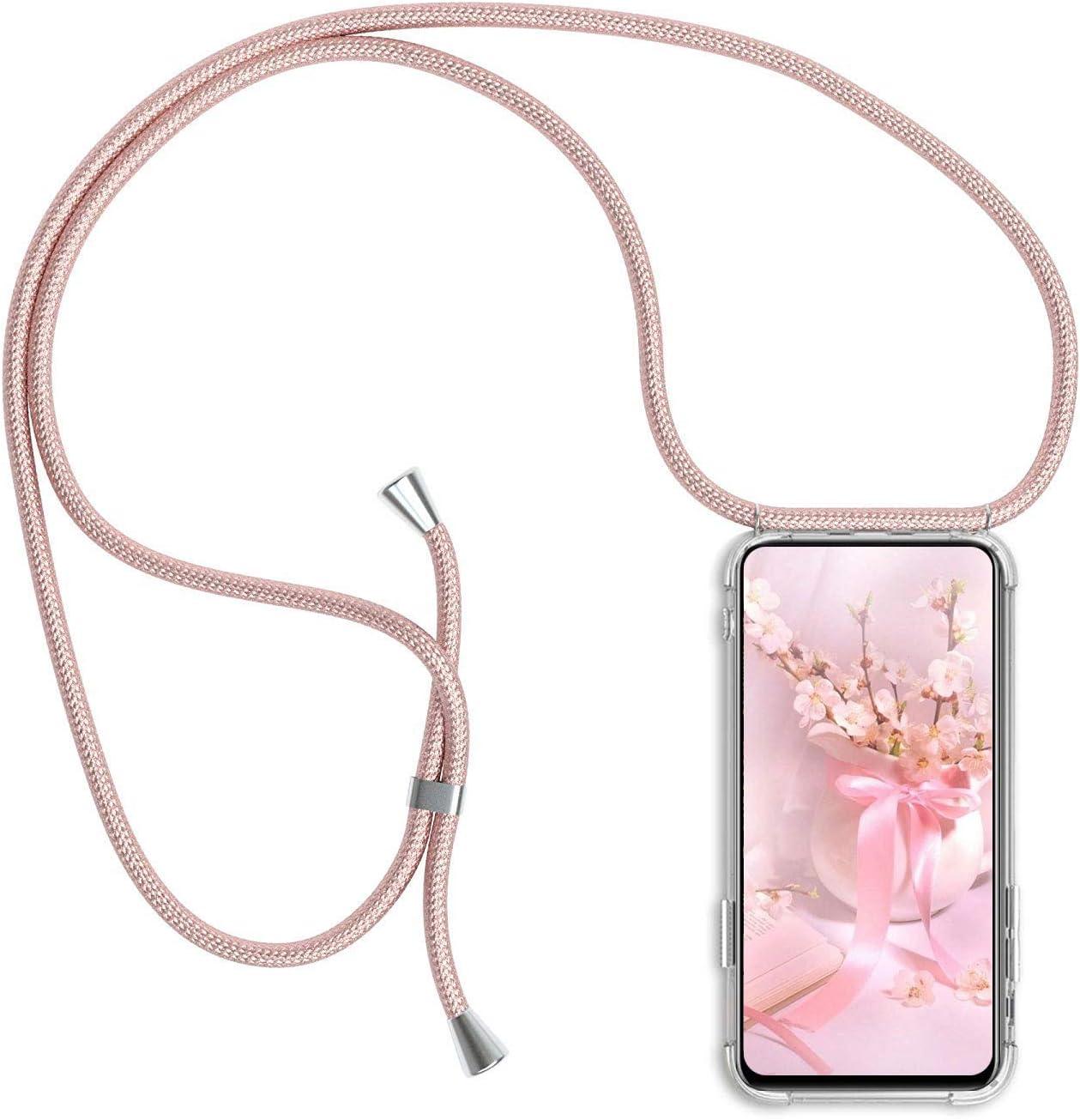 Funda para Xiaomi Mi 11 Lite 4G/5G con Cuerda, Ultrafina Suave Silicona TPU Transparente Carcasa de movil con Colgante [Moda y Practico] [Anti-rasguños Anti-Choque] - Oro Rosa