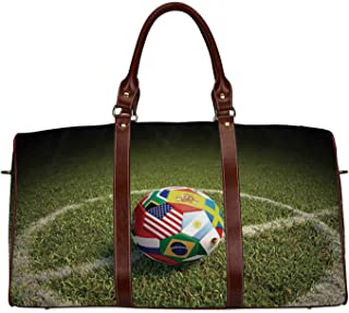 Sports Decor Exquisite Travel Bag,A Soccer Ball on a Soccer Field Printed Flags of the Participating Countries for College,18.62