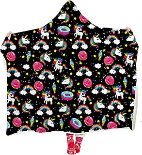 ALISISTER Hooded Blanket Adult Women Men 3D Cute Rainbow Unicorn Donut Sherpa Plush Fleece Wearable Throw Blanket 60 X 80 Inches Black Home Sofa Winter Super Soft Lightweight for Bed Room Spring
