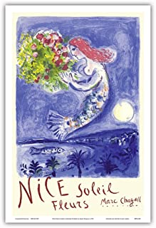 Nice Soleil Fleurs (Sunshine Flowers) - Vintage World Travel Poster by Marc Chagall c.1961 - Master Art Print - 12in x 18in