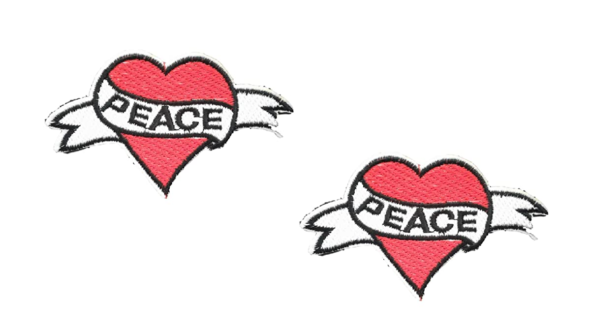 2 pieces Red PEACE HEART Applique Embroidered Motif Fabric Love Valentine Decal 3.7 x 2.3 inches (9.3 x 5.8 cm)