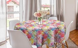 Orange Venue Botanik Yuvarlak Masa Örtüsü, Detaylı Yaprak Eskizleri ile Şeffaf Leke, Mutfak ve Yemek Masası için Dairesel ...