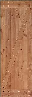 LUBANN 28 in. x 84 in. Rustic Z-Brace Hardwood Barn Door Unfinished Knotty Alder Solid Wood Barn Door Slab