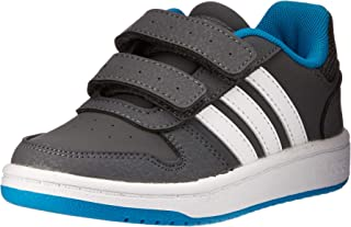 adidas Australia Boys Hoops 2.0 CMF Trainers, Grey Five/Footwear White/Shock Cyan, 11.5 US