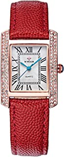 Lady Watch Rectangle Dial Watches for Women with Crystal Waterproof Roman Numeral Wristwatch