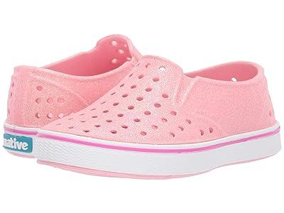 Native Kids Shoes Miles Bling (Toddler/Little Kid) (Lantern Pink Bling Glitter/Shell White) Girls Shoes