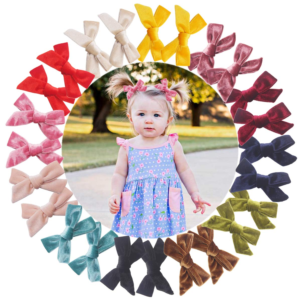 24PCS 12Pairs Fixed price for sale Velvet Hair Bows Baby Clips 4Inch Indefinitely Girls