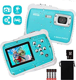 LDF Kids Camera Underwater Digital Camera Dual 8MP HD 1080P IP68 Waterproof with 2.0inch IPS Screen 8X Digital Zoom and 8GB Memory Front and Rear Selfie Video Camera for Boys and Girls