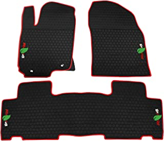 biosp Car Floor Mats Heavy Duty Mat for Toyota RAV4 2014 2015 2016 2017 2018 Front And Rear Seat Rubber Floor Liners Liner Black Red Vehicle Carpet - All Weather Guard Odorless
