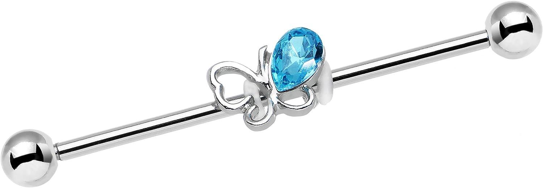 Body Candy Stainless Steel Light Blue Frolicking Butterfly Helix Earring Industrial Barbell Piercing 14 Gauge 38mm