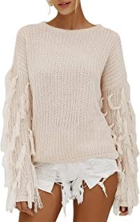Elva Nell Women's Long Sleeve O Neck Knit Pullover Casual Short Sweater with Tassel
