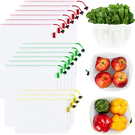 Ecowaare Set of 15 Reusable Mesh Produce Bags - Eco-Friendly - Washable and See-Through - with Colorful Tare Weight Tags - 3 Sizes